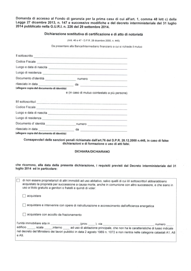 domanda di accesso al fondo di garanzia prima casa - pagina 1